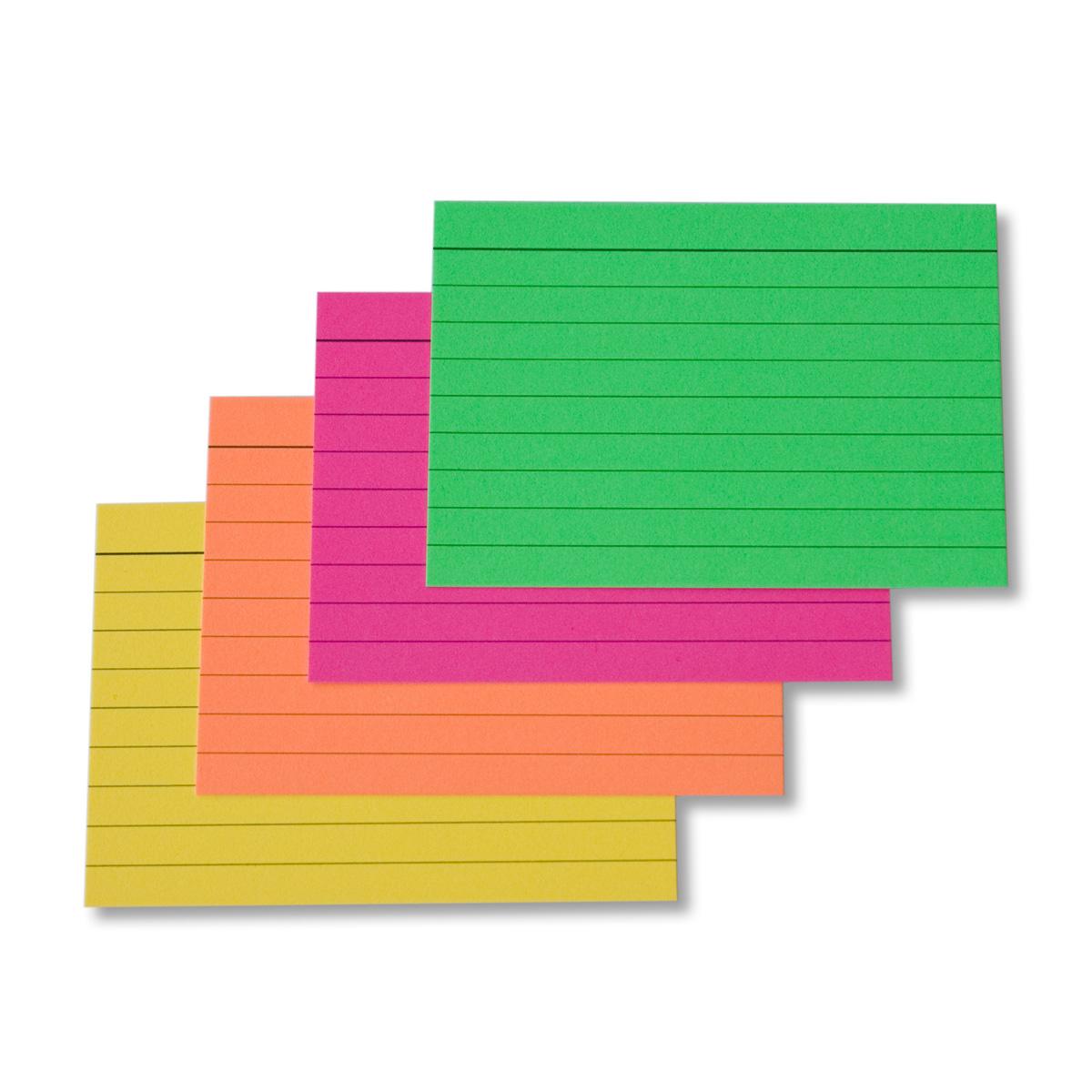 200 st ck karteikarten a8 neon gemischt liniert 170g m ademo papeterie. Black Bedroom Furniture Sets. Home Design Ideas