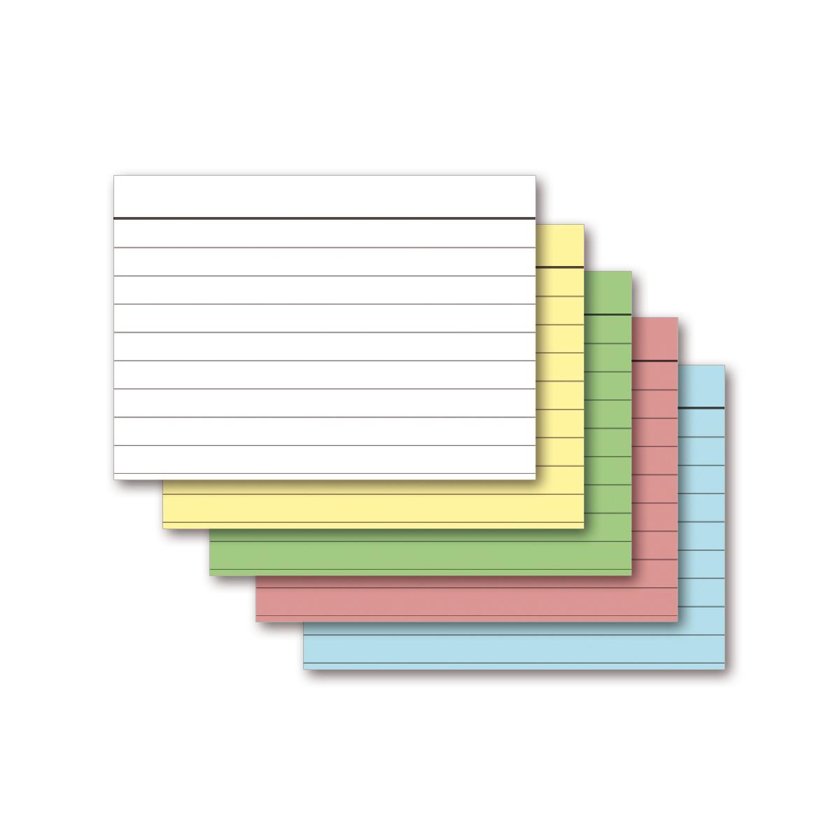 500 st ck karteikarten a6 5 farben gemischt liniert 160g m ademo papeterie. Black Bedroom Furniture Sets. Home Design Ideas